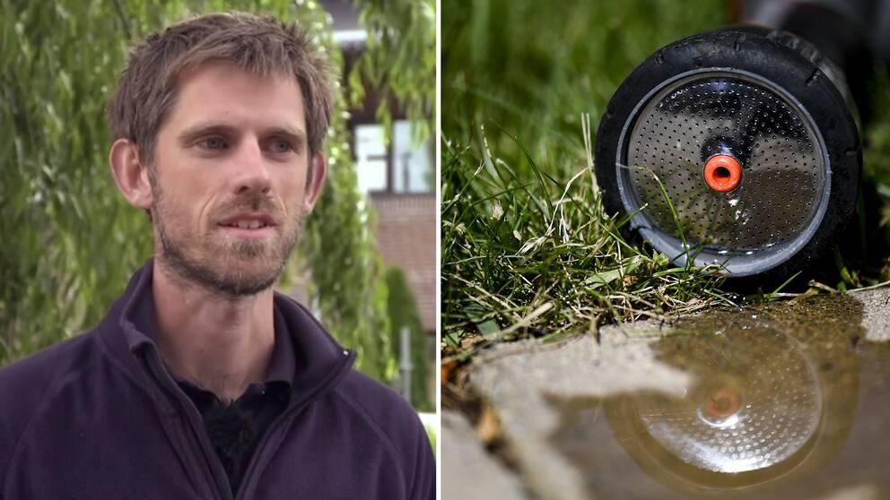 Hydrogeolog Johan Carlström och munstycket på en vattenslang som symboliserar vattenbristen.