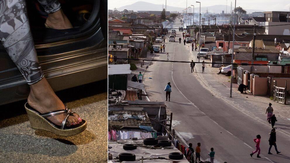 En bild på ett kvinnligt ben som kliver ur en bil och en bild från Kapstaden.