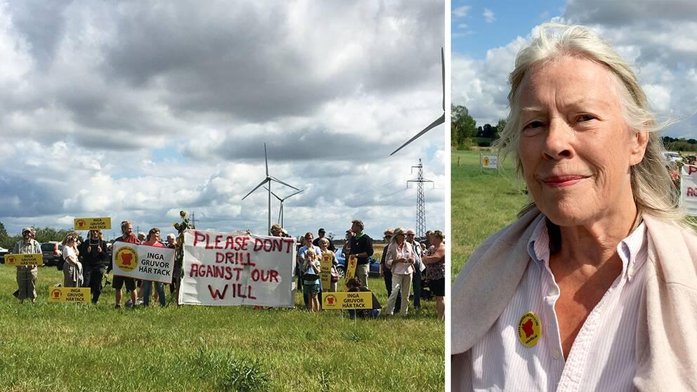 Hörbybor protesterar mot planerna att på en vanadin-gruva i området. En av dem är Margaretha Torkelssen.