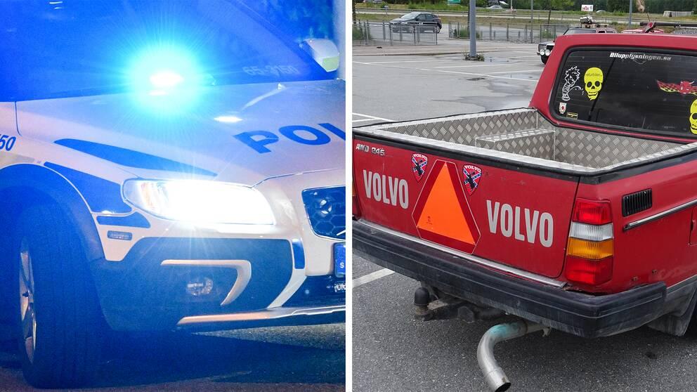 Delad bild. Till vänster en polisbil och till höger en röd epa-traktor.