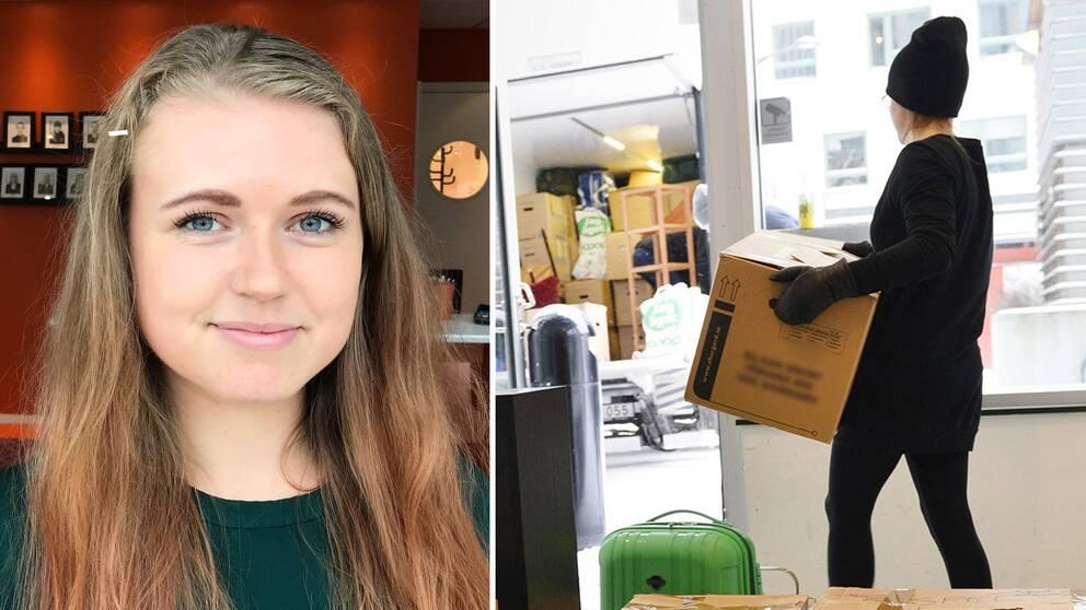 Studentkåren i Halmstad ordförande Ida Bard/Person som flyttar flyttkartonger.