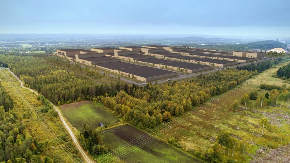 Skellefteå tog storvinst i batterikampen. Illustration över hur Northvolts batterifabrik ska se ut.