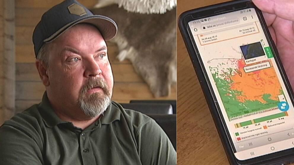bild på JanÅke Johnsson och en bild på en mobiltelefon som visar en avbrottskarta