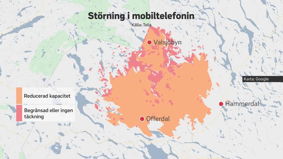 Karta över Krokoms kommun, där område med reducerad eller ingen mobiltelefoni är markerat med orange och rött.