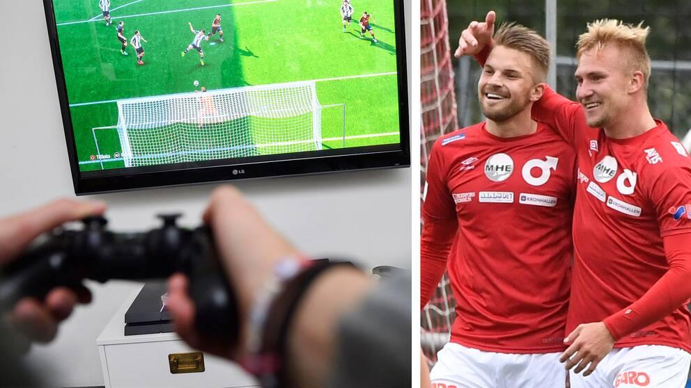 Till vänster en bild på en PS4-handkontroll och på tv:n i bakgrunden syns fotbollsspelet Fifa. Till höger en bild på två spelare ur Degerfors IF:s elitlag.