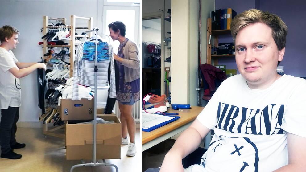 Mathias Bergström, som tog sig ur hemmasittandet, är på sin praktik i Kungsör. Rödmyrans secondhandbutik.