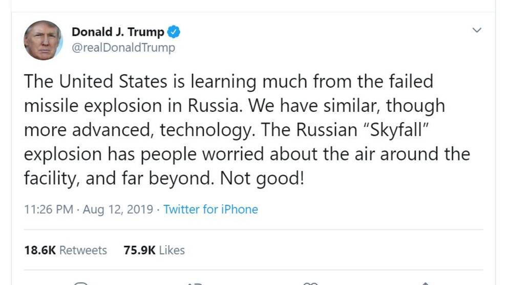 USA:s president Donald Trump tweetar om det ryska robotsystemet Skyfall (Burevestnik).