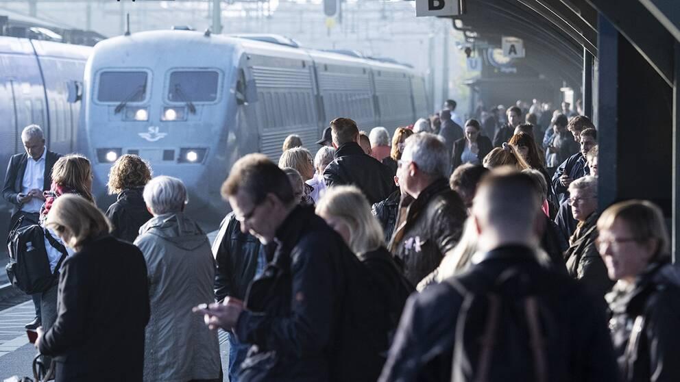 Resenärer på Lunds central