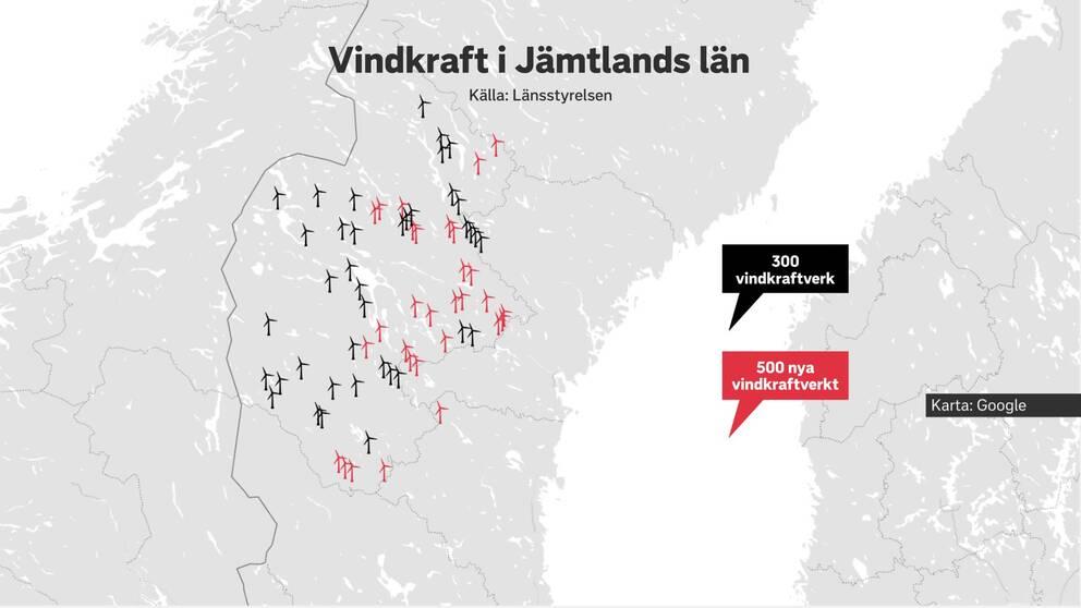 Karta över Jämtlands län som visar byggda vindkraftverk i svart och vindkraftverk som fått tillstånd i rött
