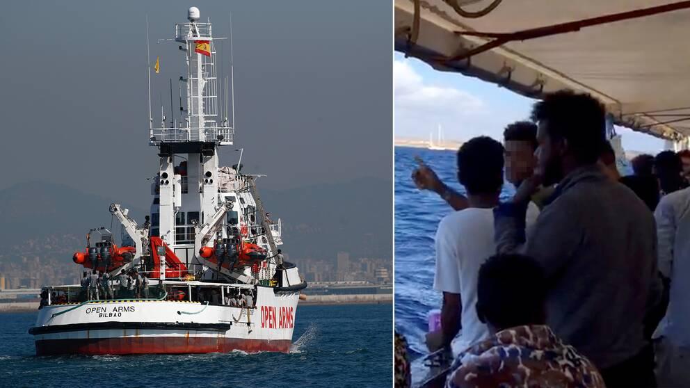 Arkivbild på fartyget och bild från ombord på fartyget, människor tittar ut över havet.