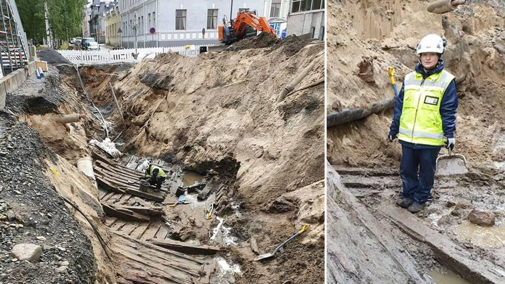 Fartygets ena bredsida har grävts fram och är enligt arkeologerna väldigt välbevarad. Flera arkeologerna från finska museiverket undersöker nu hur gammalt det är och var det kommer ifrån.