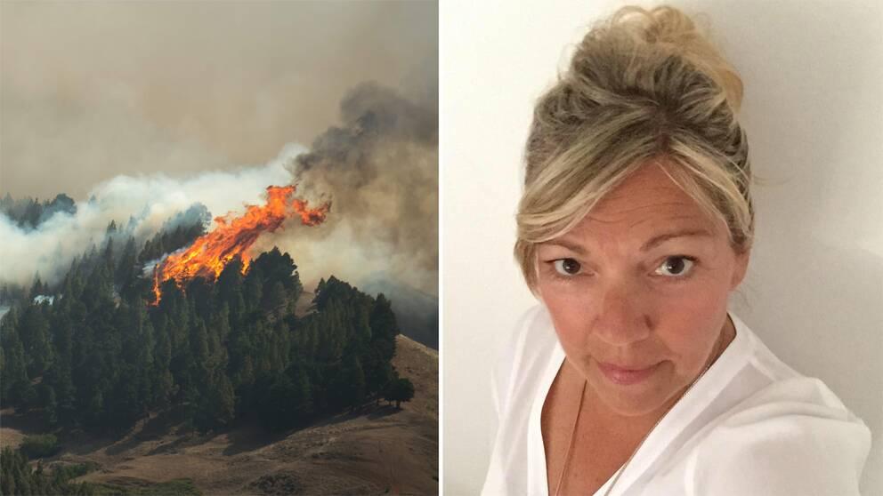 Skog som brinner och Lotta Jensen.