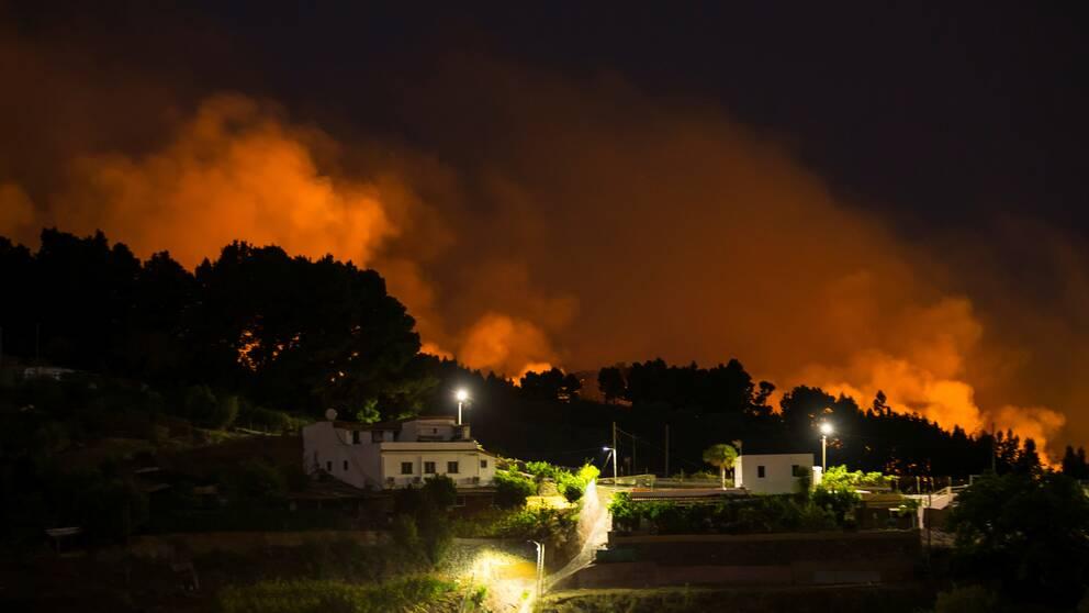 Lågor och rök från skogsbränderna. Här utanför byn Vallseco.