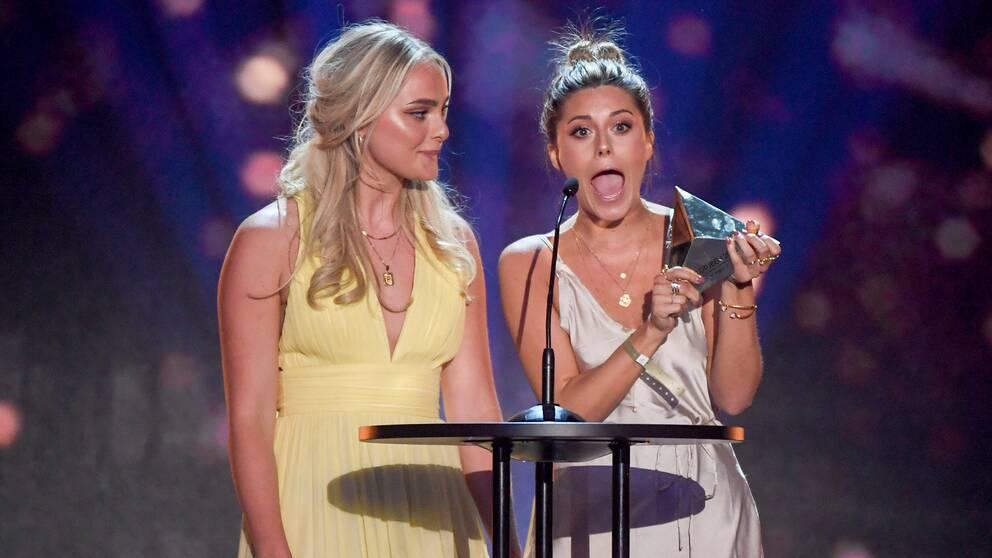 Alice Stenlöf och Bianca Ingrosso vinner Årets podcast på Guldtubengalan 2018.