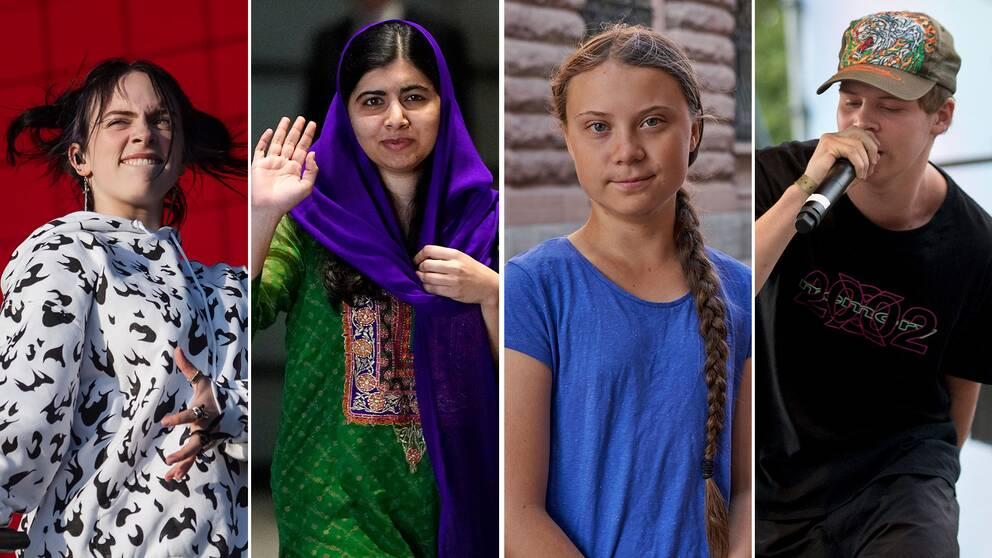 Billie Eilish, Malala Yousafzai, Greta Thunberg och Yung Lean.
