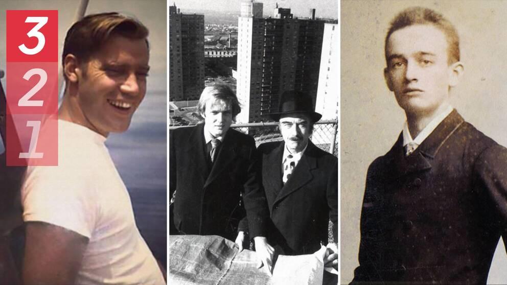 Donald Trumps bror, Fred Jr Trump, Donald Trump och hans pappa på toppen av en skyskrapa i New York och Donald Trumps farfar.