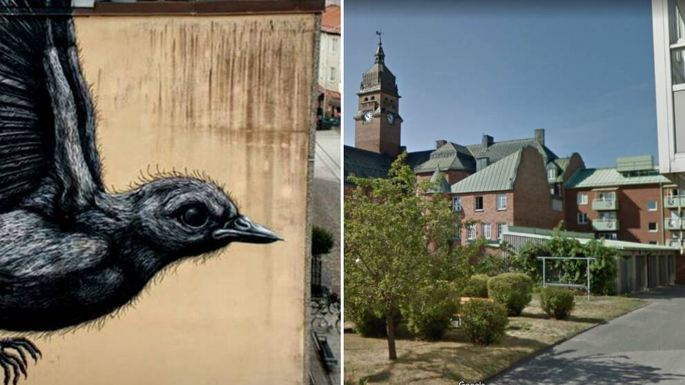 Den omtalade muralmålningen med en fågel på en vägg i Nässjö. Nu ska den femte muralmålningen i centrala Nässjö påbörjas.