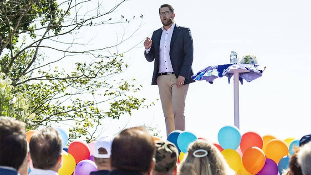Jimmie Åkesson under sommartalet i Sölvesborg