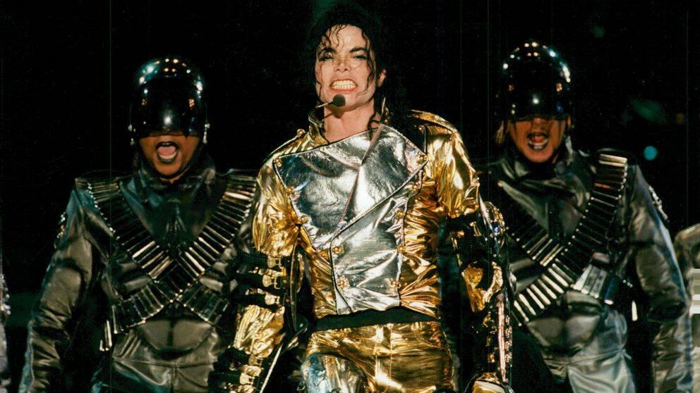 Michael Jackson uppträder på Ullevi Stadium under sin Europaturné 1997.