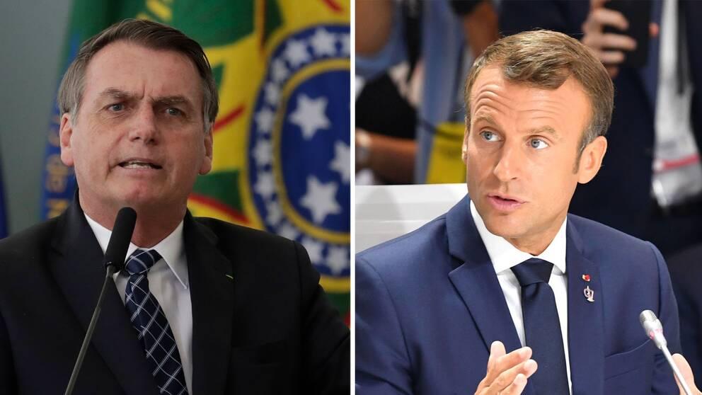 Brasiliens president Jair Bolsonaro och Frankrikes president Emmanuel Macron. Arkivbilder.