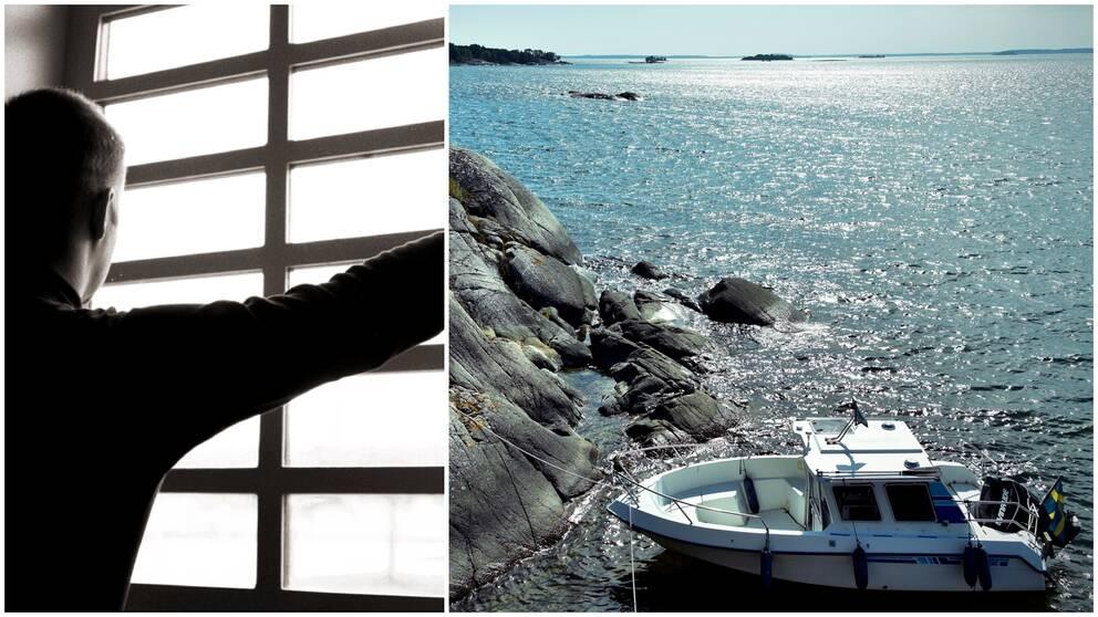 två bilder. Man framför gallerfönster och båt i vatten.