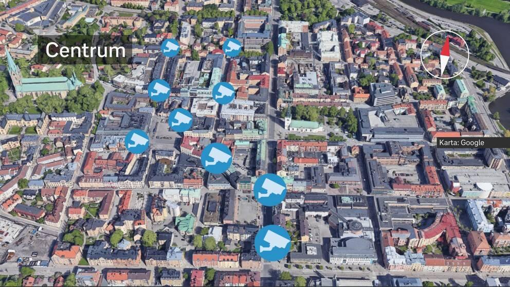 En karta över centrala Linköping där planerade övervakningskameror är markerade. Se faktaruta under artikeln för att se adresserna där de ska sättas upp.