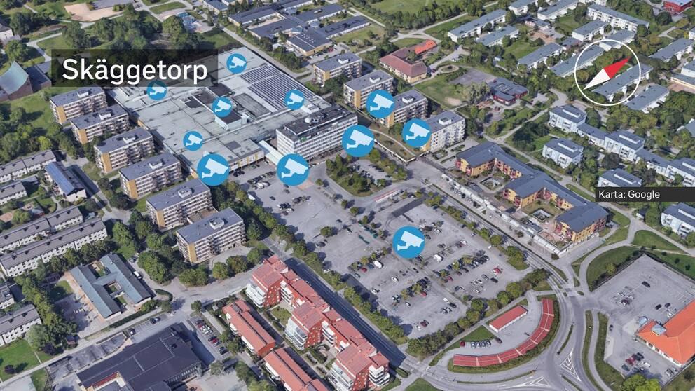 En karta över Skäggetorp där planerade övervakningskameror är markerade. Se faktaruta under artikeln för att se adresserna där de ska sättas upp.