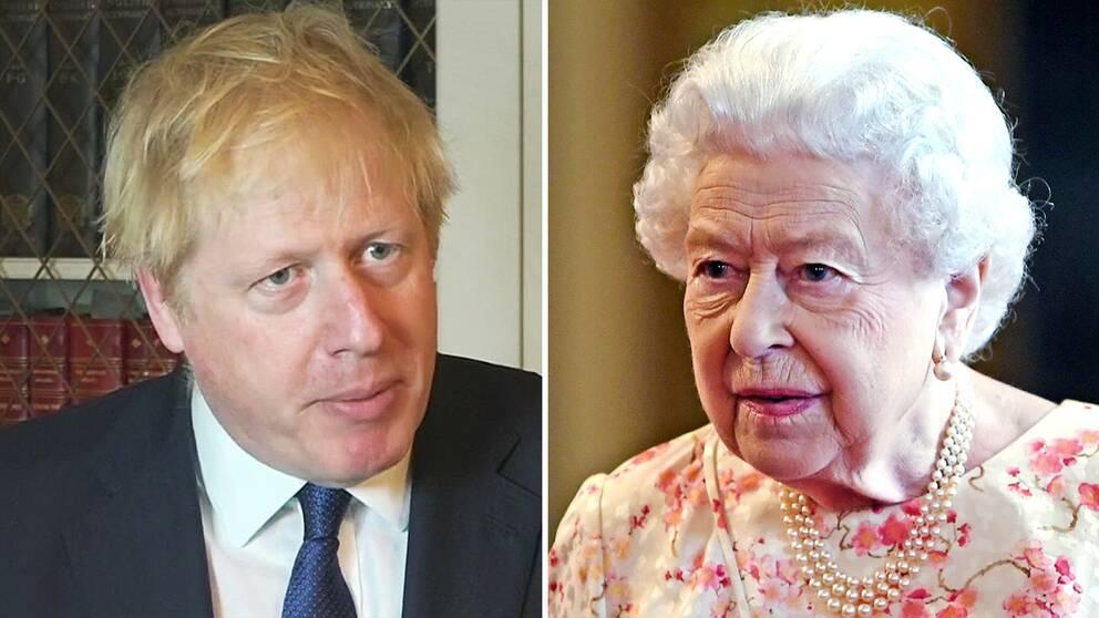 Storbritanninens premiärminister Boris Johnson (t.v.) fick under onsdagen klartecken från drottning Elizabeth II att tillfälligt upplösa parlamentet