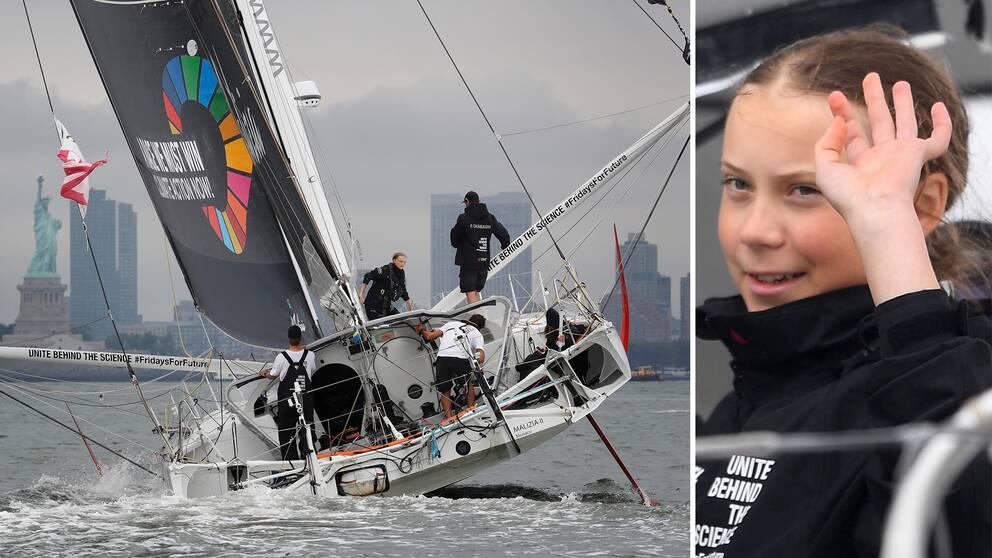 Under onsdagen anlände Greta Thunberg till New York, med segelbåten Malizia II som tagit henne över Atlanten