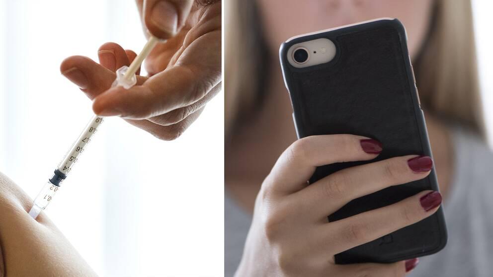 En vaccinspruta och en mobiltelefon.