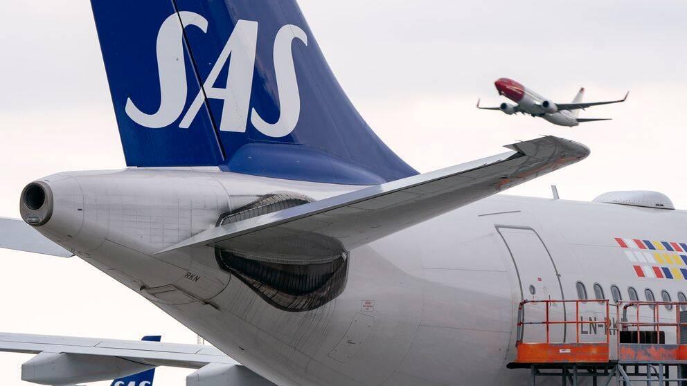 Stjärtfenan på ett SAS-plan.
