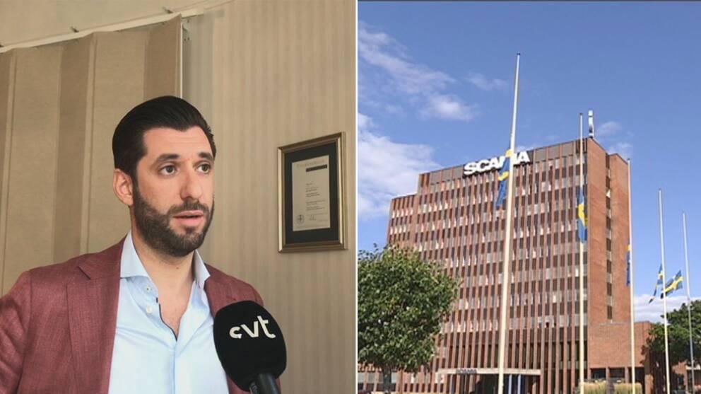 Försvarsadvokat Ninmar Poli till vänster och Scanias huvudkontor till höger
