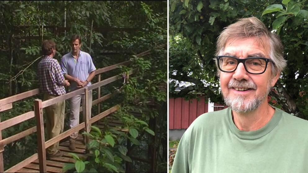 Bild från filmen med journalisterna i regnskogen plus ett porträtt på Dag Jonzon.