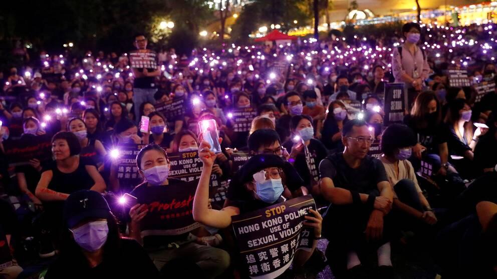Manifestation mot sexuellt våld i Hongkong