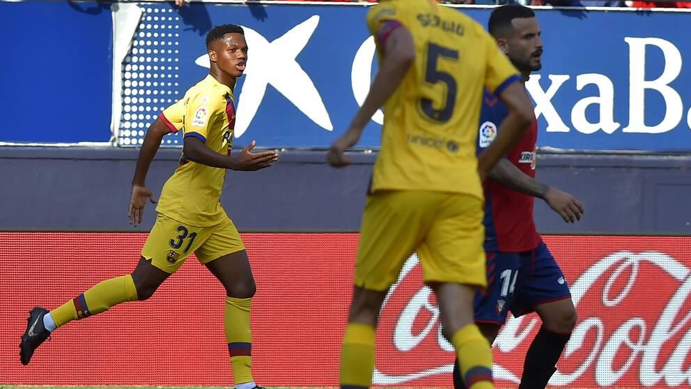 16-årige Ansu Fati blev Barcelonas yngste målskytt någonsin i dag.