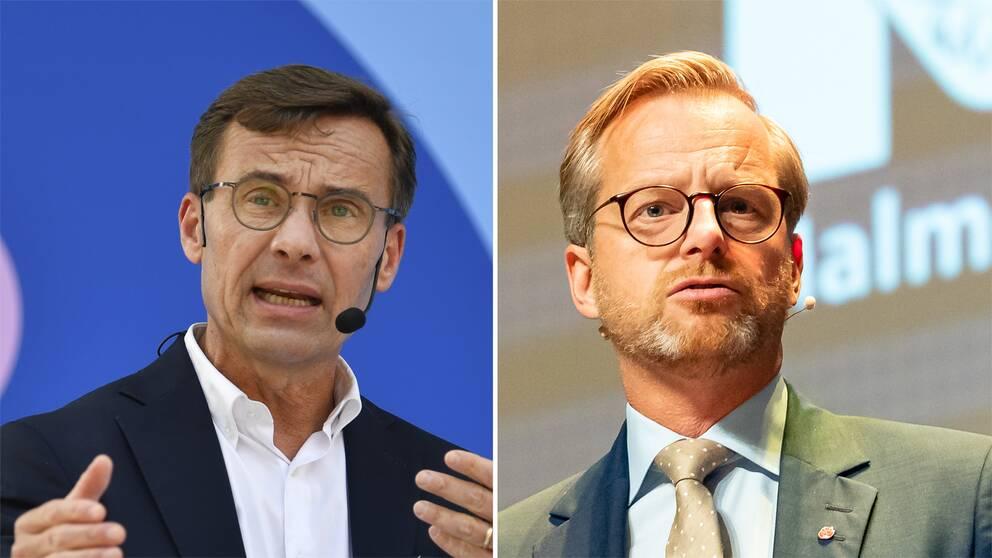 Till vänster: Partiledaren Ulf Kristersson (M) håller sitt sensommartal. Inrikesminister Mikael Damberg (S) talar i Malmö.