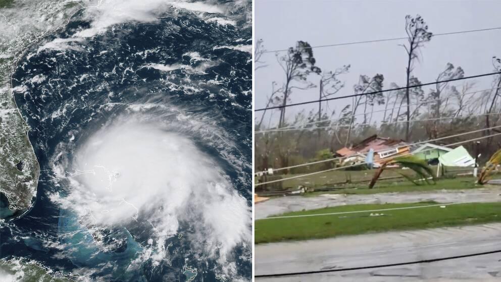 En splitbild med en satellitbild av Dorian och en bild från Bahamas där ett hus rasat samman.
