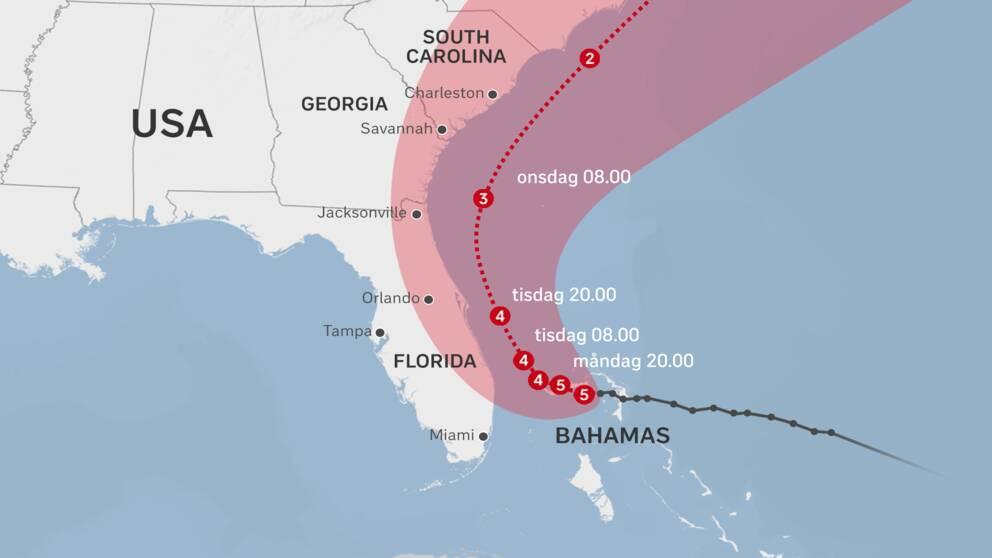 Karta över orkanen Dorians framfart.