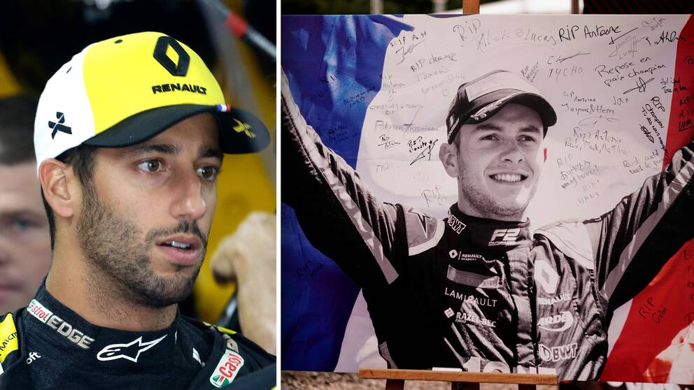 Till vänster: Renault-föraren Daniel Ricciardo. Till höger: En hyllning till Anthoine Hubert.