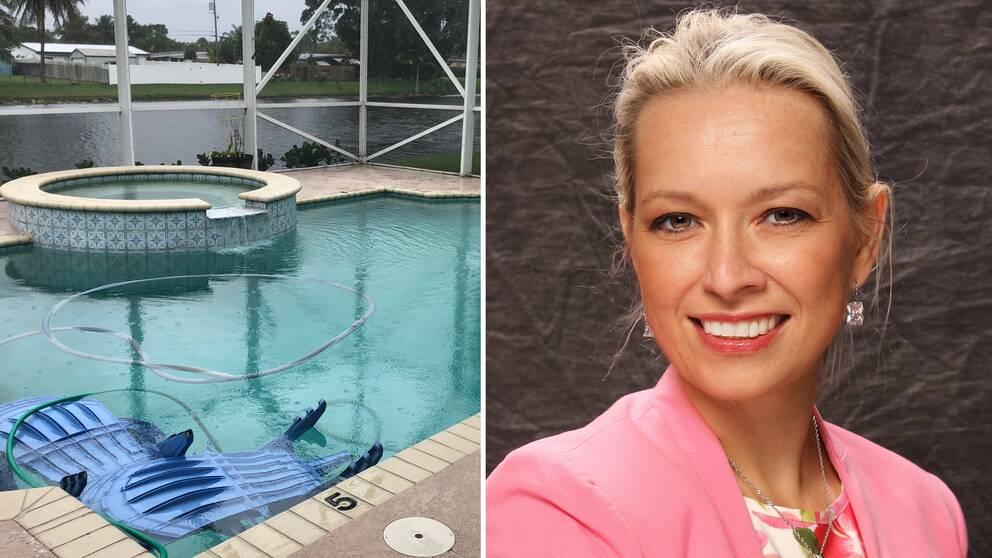 Vattennivån i kanalen intill svenska Viktoria Rileys hus i Florida har sänkts för att undvika översvämning.