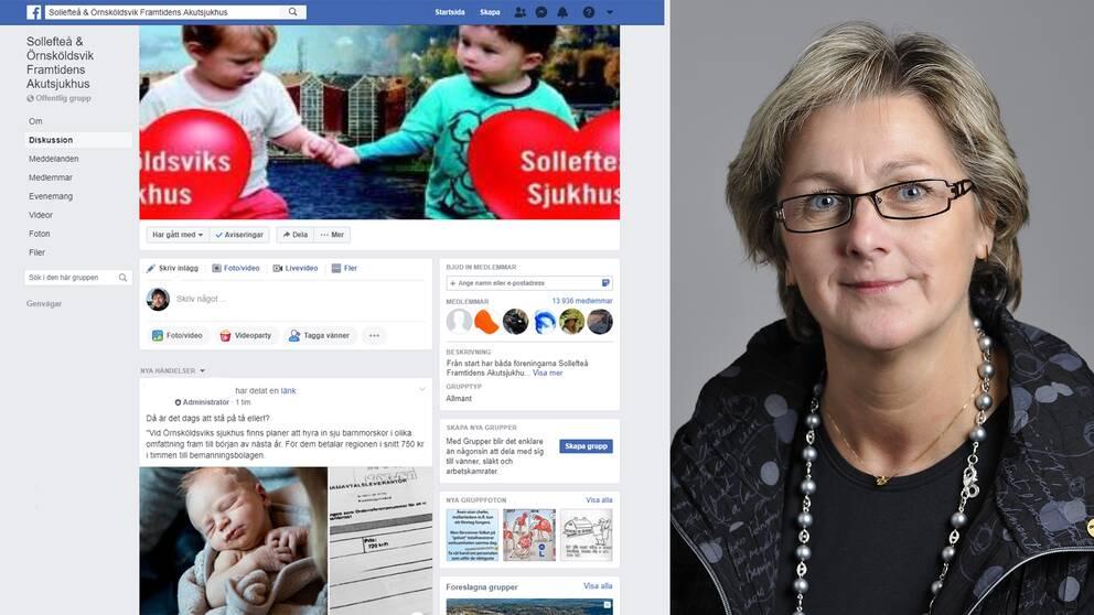 Lena Asplund, moderat regionråd, lämnar Facebookgruppen som värnar Sollefteå och Örnsköldsviks sjukhus