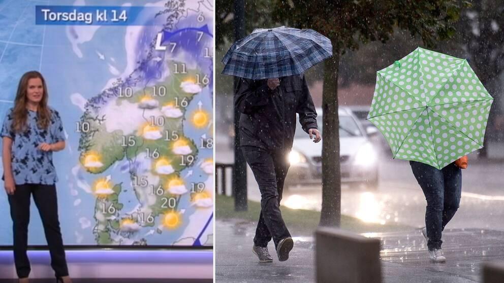 Väderkarta och paraply som skydd mot hällregnet på tvären. Arkivbild.