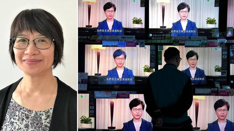 Elizabeth Tang är fackföreningsledare och demokratiaktivist från Hongkong på besök i Sverige. Hon tror inte att Carrie Lams besked lkommer att blidka demonstranterna.