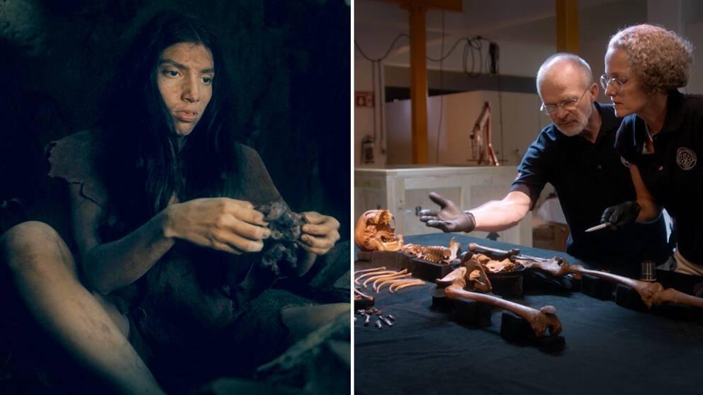 En bild som visar hur en 16-årig flicka kunde ha sett ut på istiden, för 13000 år sedan. Och en bild på två forskare som undersöker ett skelett från den tiden.