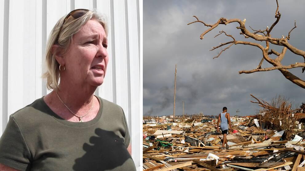 Sandra Cooke och förödelse på Abaco Islands.