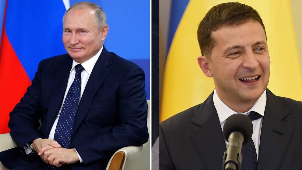 Rysslands president Vladimir Putin till vänster och Ukrainas president Volodymyr Zelenskyj till höger