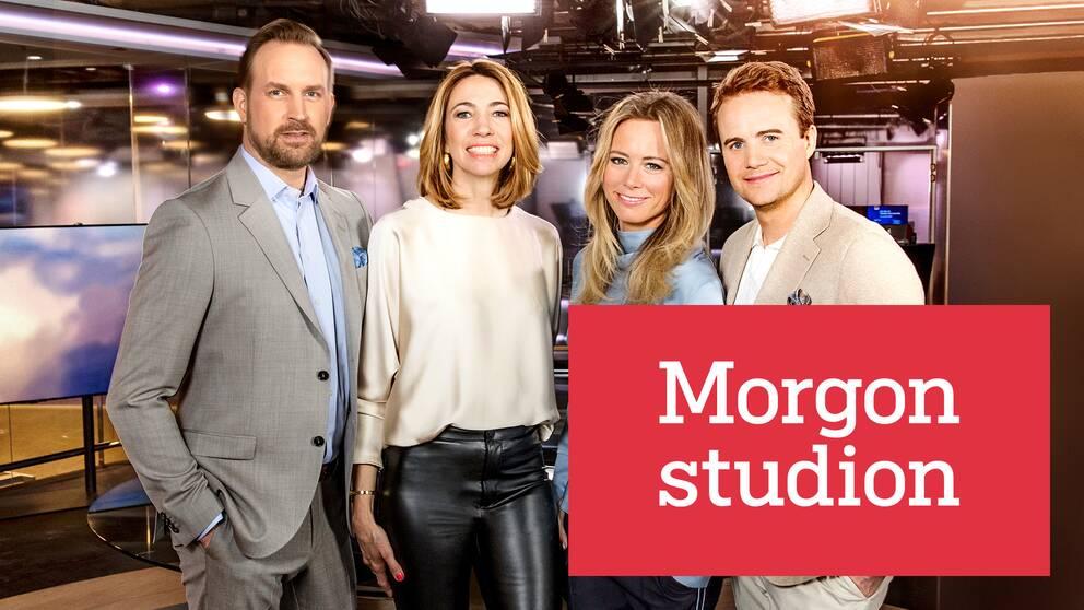 Programledarna Pelle Nilsson, Karin Magnusson, Ted Widgren och Carolina Neurath.