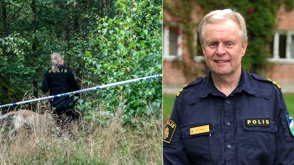 Polis som söker i skog, polisman Bengt Gustavsson