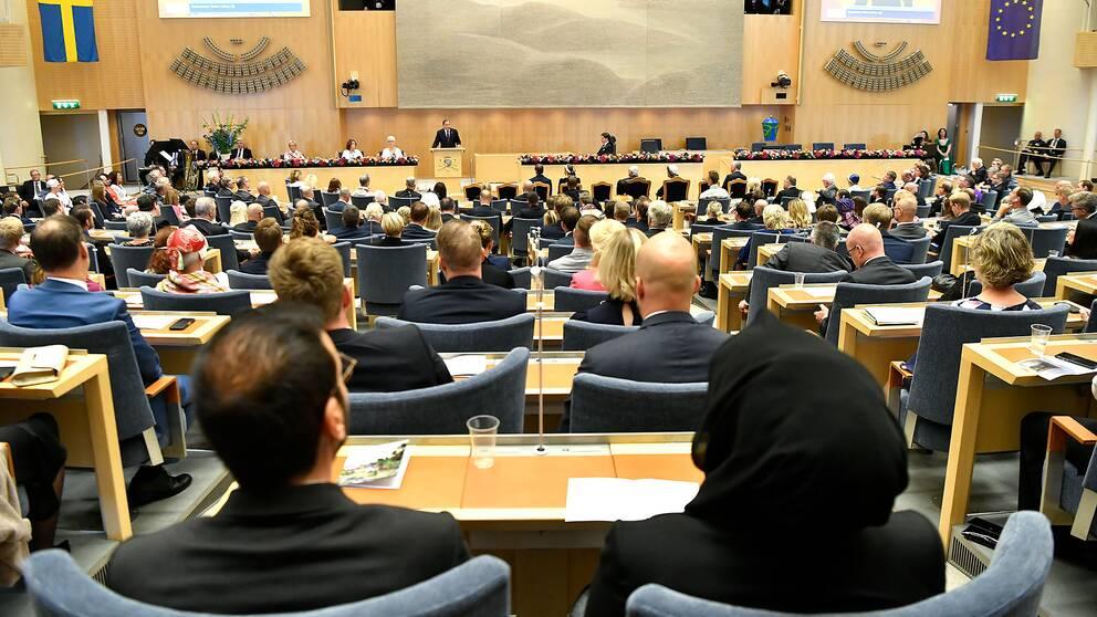 Statsminister Stefan Löfven läser upp regeringsförklaringen