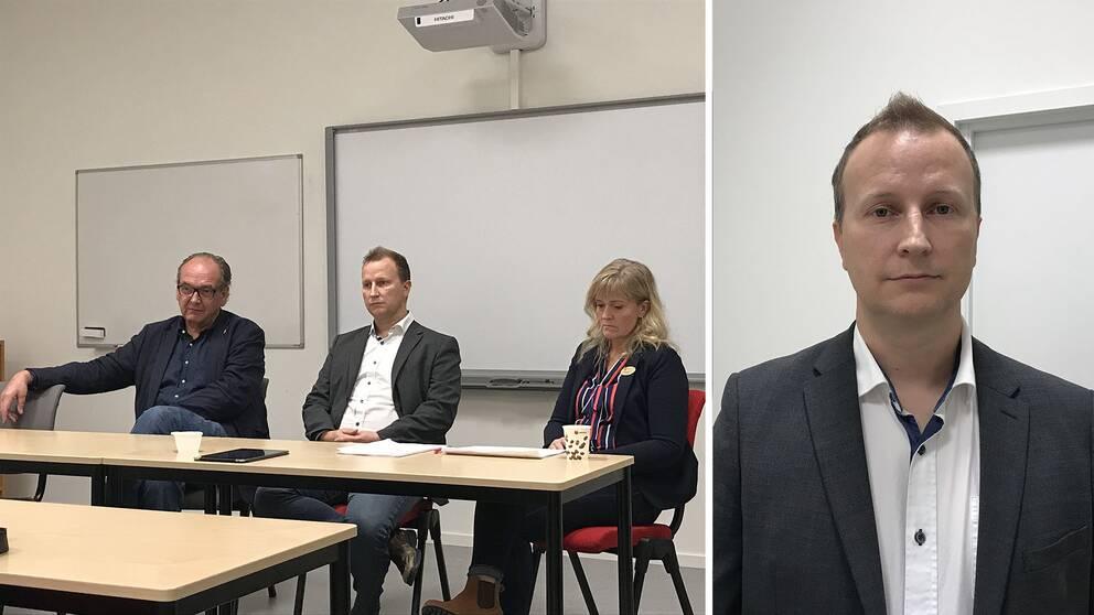 Anders Röhfors (M), kommunstyrelsen ordförande, Richard Fallqvist (L) vice ordförande i barn- och utbildningsnämnden och skolchef Ulrika Hansson.